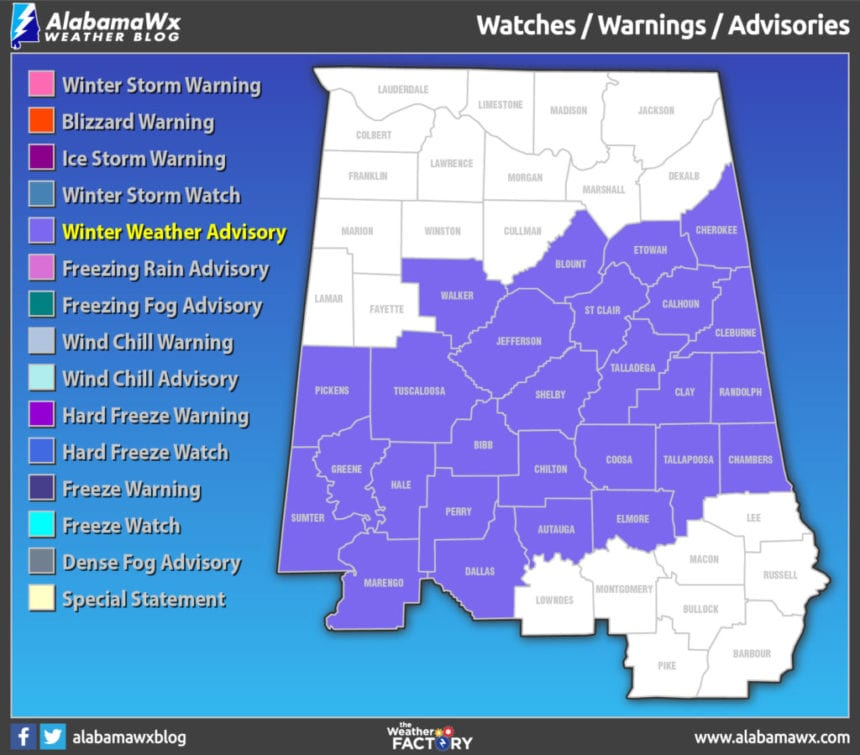 Bill Murray: Some snow in Alabama before skies clear, sun returns
