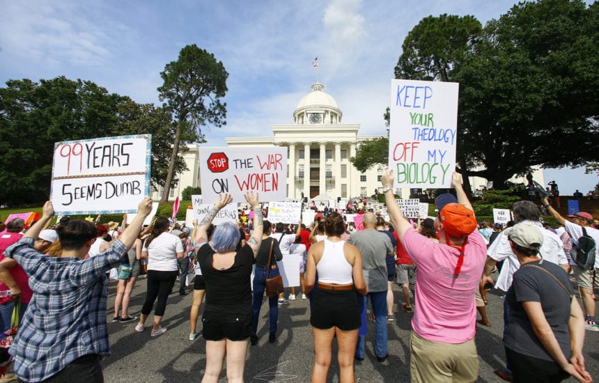 Abortion rights activists protest state's new law