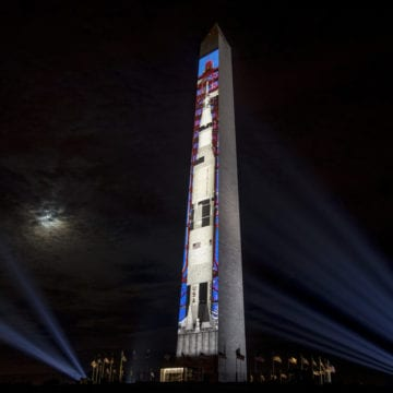 Watch: Saturn V rocket launch on Washington Monument