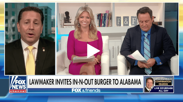 Sen. Phil Williams on Fox & Friends: Bring In & Out burger to Alabama