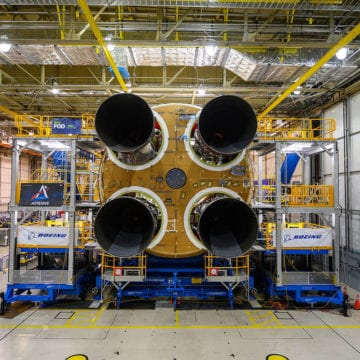 Final Space Launch System rocket engine in place