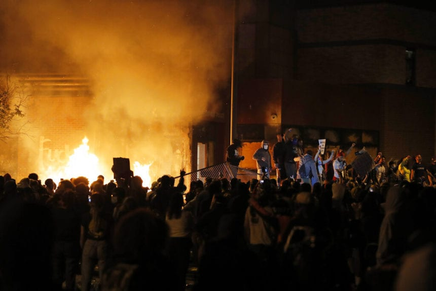 Minneapolis police station torched amid George Floyd protest, Trump reacts