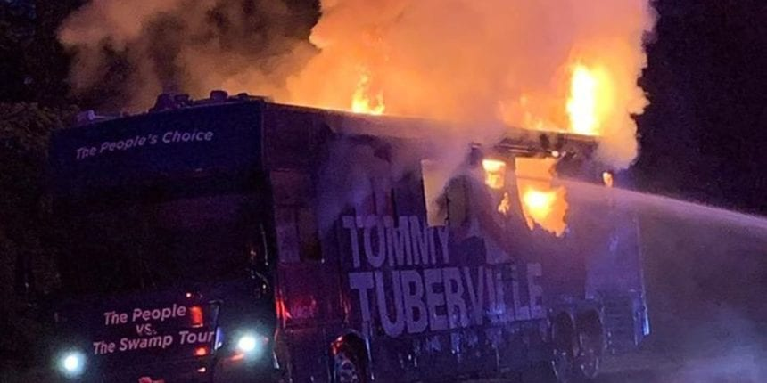 Tuberville's campaign bus catches on fire in Alabama