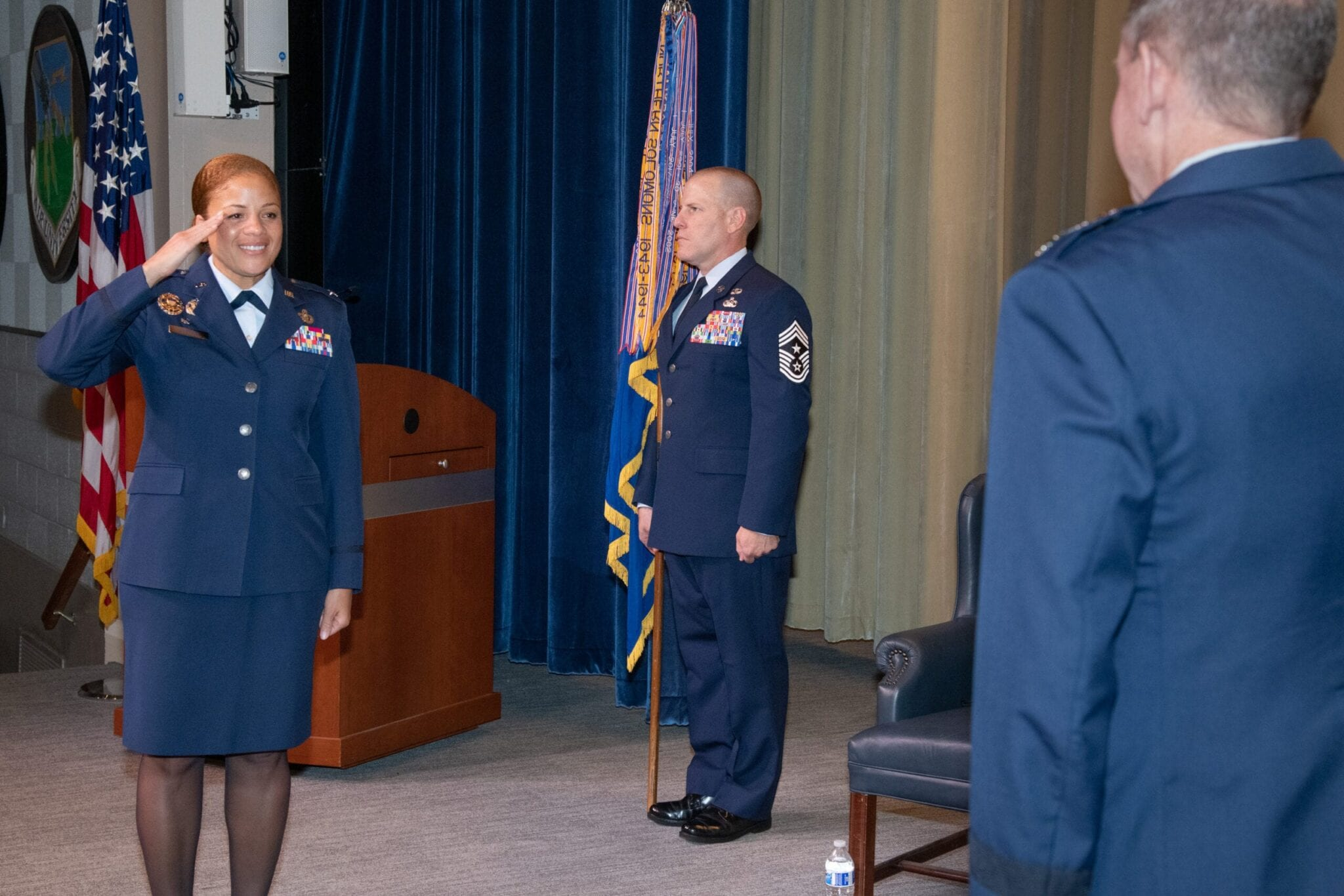 Lt General James B. Hecker presides over 42d Air Base Wing change of command with Colonel Patrick J. Carley relinquishing command to Colonel Eries L. G. Mentzer