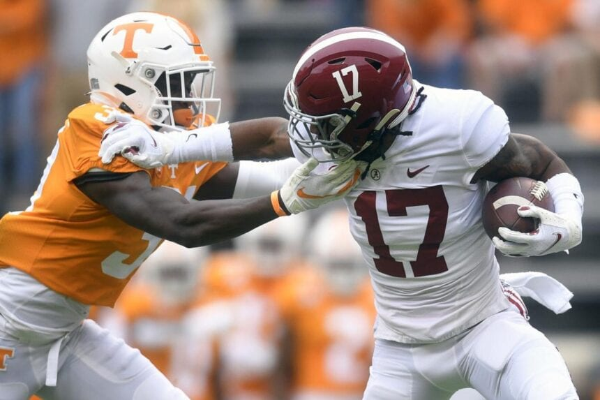 Bama's Waddle back practicing, status for title game unclear